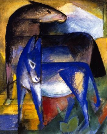 Two Blue Donkeys | Franz Marc | oil painting