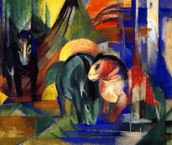 Three Horses at a Watering Place in the Woods | Franz Marc | oil painting