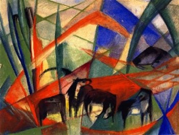 Landscape with Black Horses | Franz Marc | oil painting