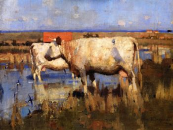 Landscape with Cattle | Joseph Crawhall | oil painting