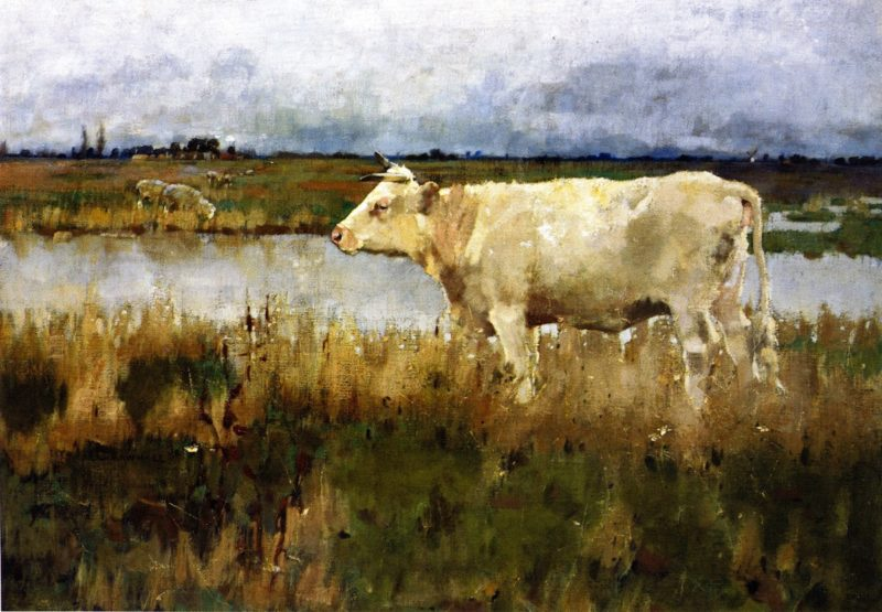 A Lincolnshire Pasture   Joseph Crawhall   oil painting