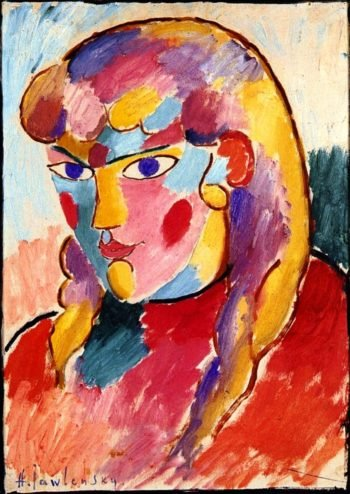 Girl with Blue Eyes and Two Plaits | Alexei Jawlensky | oil painting