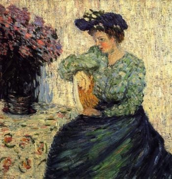 Young Woman with Bunch of Lilac   Alexei Jawlensky   oil painting