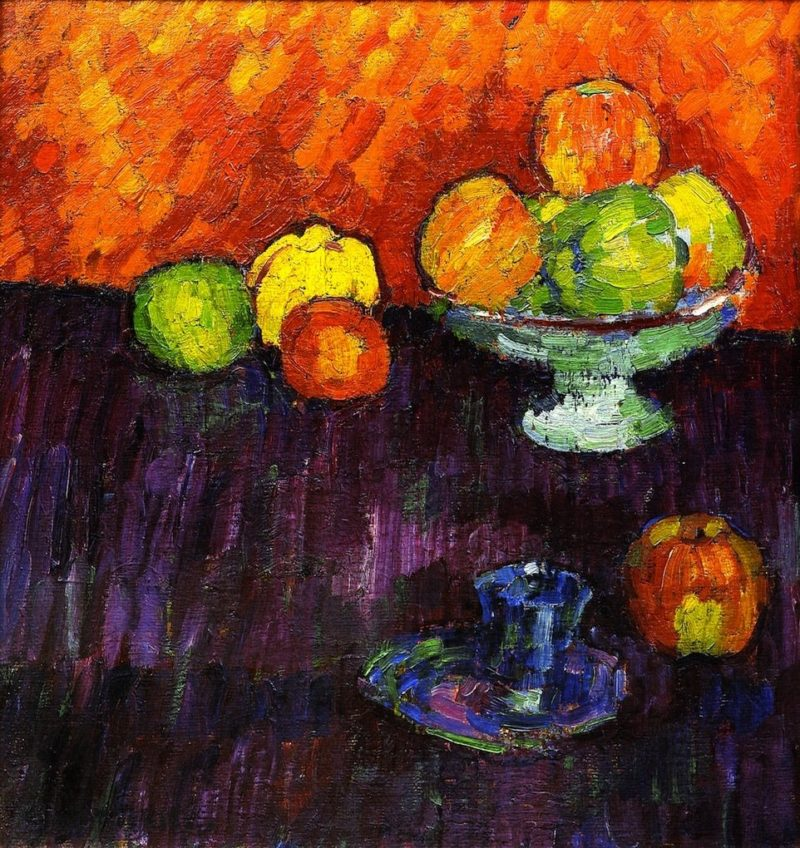 Still LIfe with Apples and Blue Cup   Alexei Jawlensky   oil painting