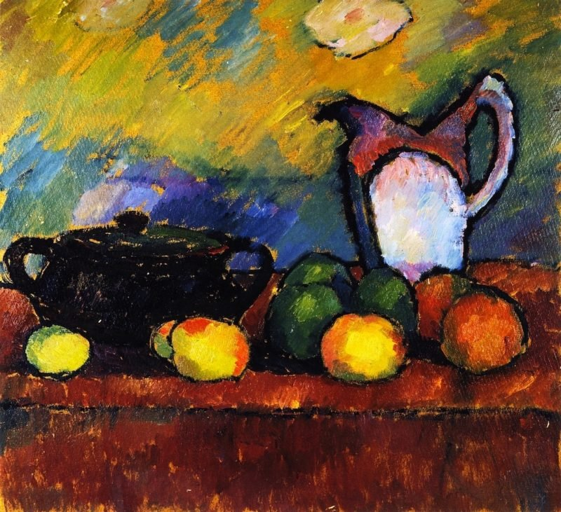 Still LIfe with Fruit Jug and Red Cloth   Alexei Jawlensky   oil painting