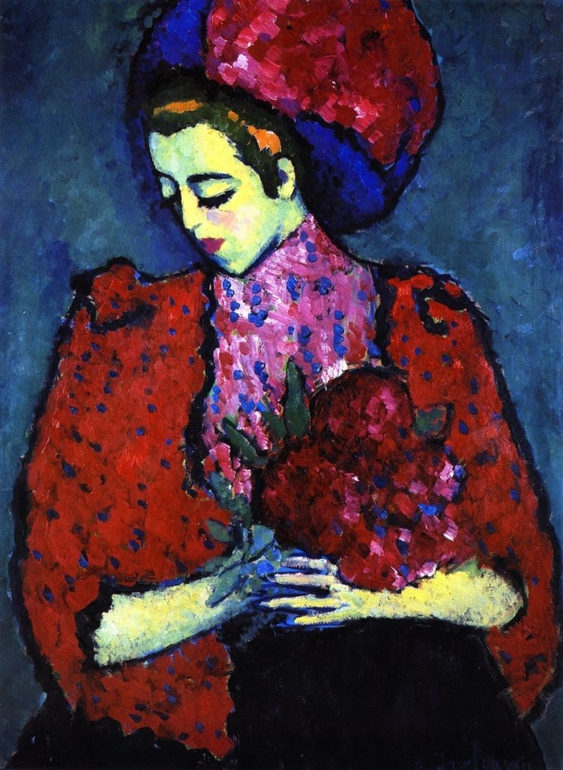 Young Woman with Peonies   Alexei Jawlensky   oil painting