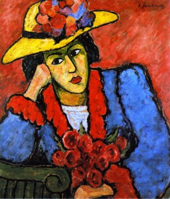 Lady in a Yellow Straw Hat   Alexei Jawlensky   oil painting
