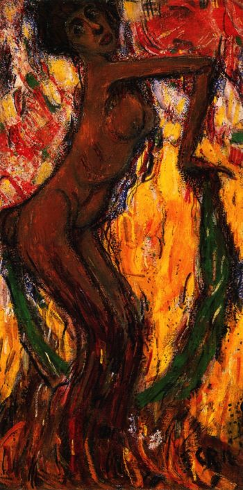 Dancing Faun with Green Veil | Christian Rohlfs | oil painting