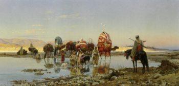 Arab Caravan Crossing a Ford | Eugene Alexis Girardet | oil painting