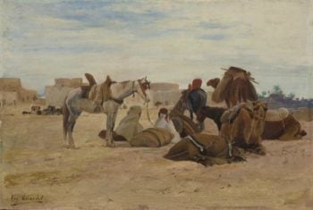 Resting at the Oasis | Eugene Alexis Girardet | oil painting