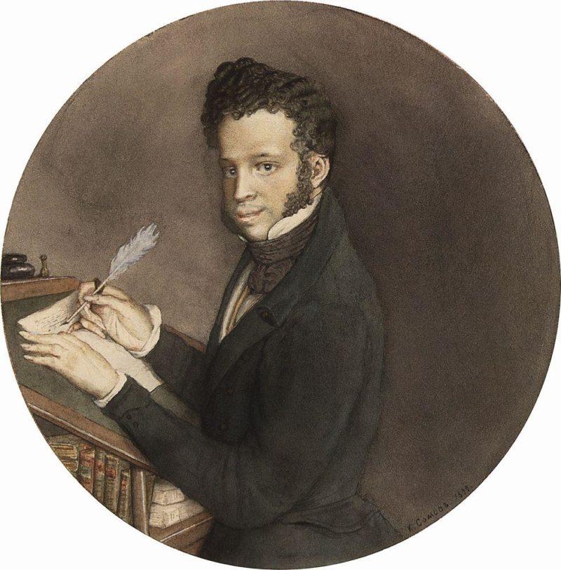 Alexander Pushkin at Work | Konstantin Somov | oil painting