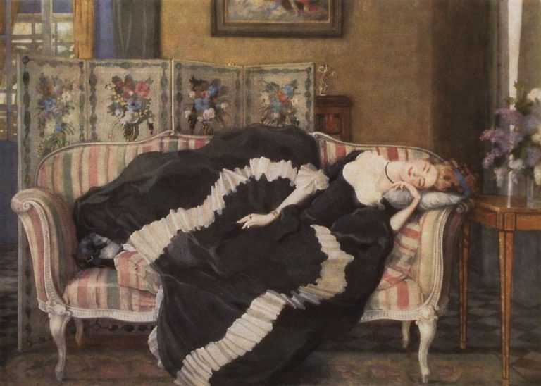 A Sleeping Woman | Konstantin Somov | oil painting