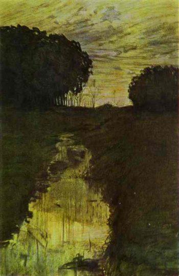 Evening Landscape. Martyshkino | Konstantin Somov | oil painting