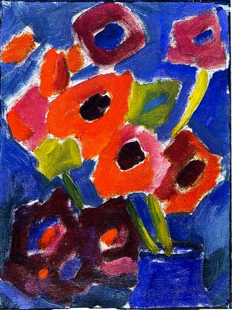 Flowers in a Blue Vase   Alexei Jawlensky   oil painting