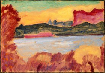 Landscape Lake Geneva   Alexei Jawlensky   oil painting
