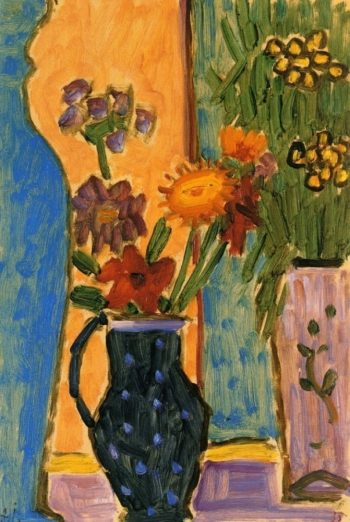 Still Life Flowers with Blue Vases and Pink Wallpaper   Alexei Jawlensky   oil painting