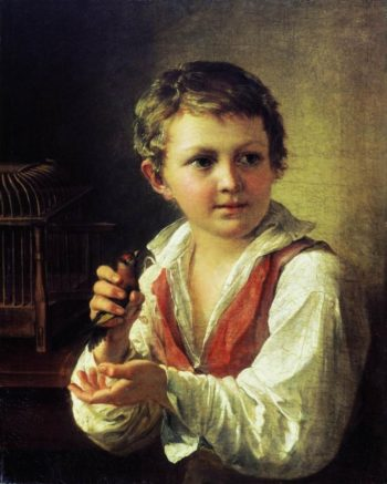 Boy Releasing a Goldfinch from the Cage | Vasily Tropinin | oil painting