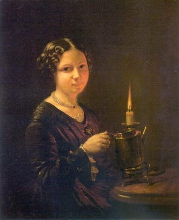Girl with a candle | Vasily Tropinin | oil painting
