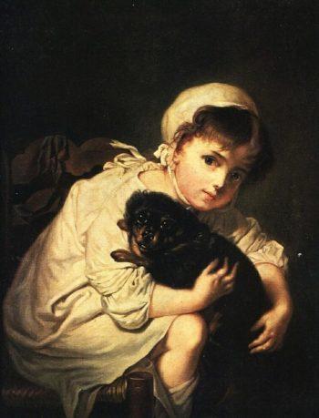 Girl with Dog | Vasily Tropinin | oil painting