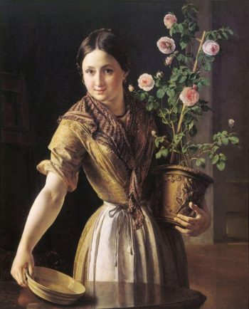 Girl with Roses | Vasily Tropinin | oil painting