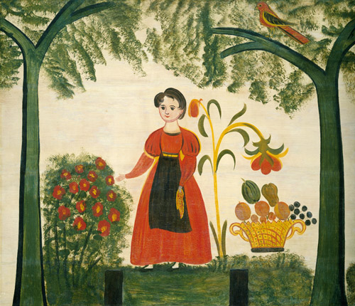 Girl in Red with Flowers and a Distelfink