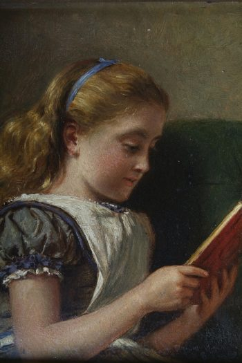 Young girl reading | George Goodwin Kilburne | oil painting
