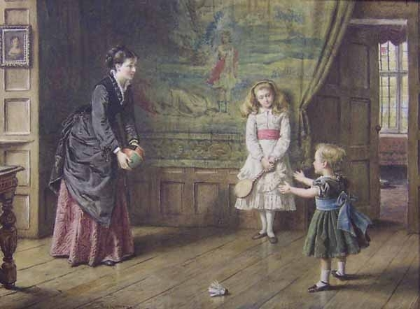 Teaching Baby to Catch   George Goodwin Kilburne   oil painting