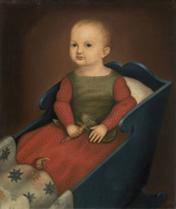 Baby in Blue Cradle