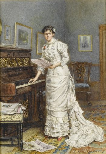 A young woman at the piano | George Goodwin Kilburne | oil painting