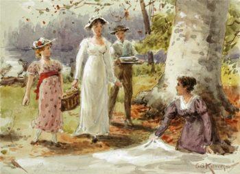A Woodland Picnic   George Goodwin Kilburne   oil painting