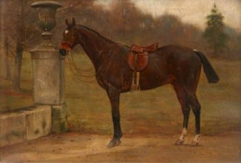 A Saddled Dark Bay Horse next to an Urn in a Garden | George Goodwin Kilburne | oil painting