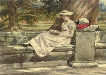 A Quiet Read in the Shade | George Goodwin Kilburne | oil painting