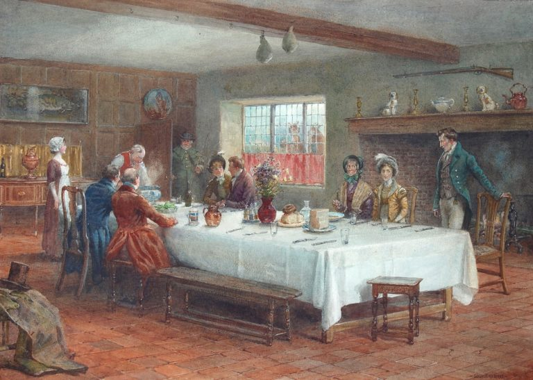 A meal stop at a coaching inn   George Goodwin Kilburne   oil painting