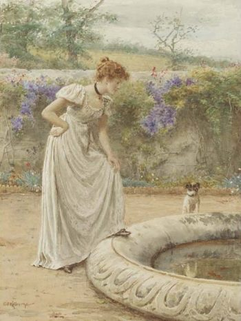 A lady and her dog looking into a fish pond | George Goodwin Kilburne | oil painting