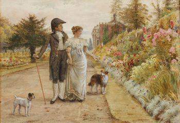 A garden stroll | George Goodwin Kilburne | oil painting