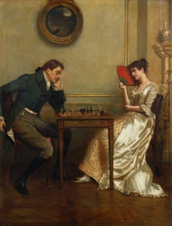 A Game of Chess | George Goodwin Kilburne | oil painting