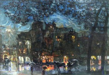 City at Night 1 | Isaak Brodsky | oil painting