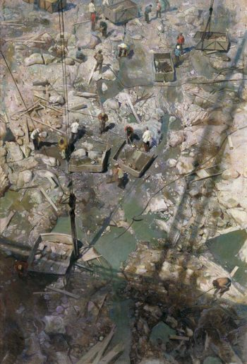 Dneprostroi | Isaak Brodsky | oil painting