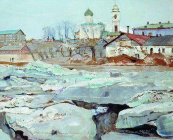 Ice Floating in Pskov | Isaak Brodsky | oil painting