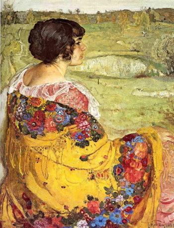 Portrait of Artist's Wife Lyubov | Isaak Brodsky | oil painting