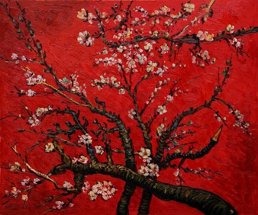 Almond Tree in Red | Vincent van Gogh | oil painting