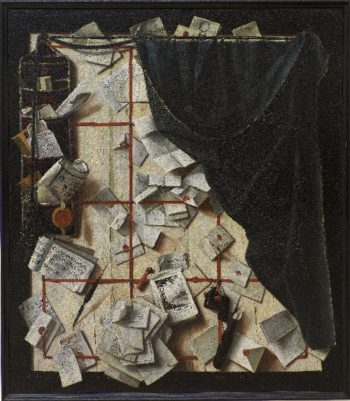 Trompe loeil Board Partition with Letter Rack and Music Book | Cornelius Norbertus Gijsbrechts | oil painting
