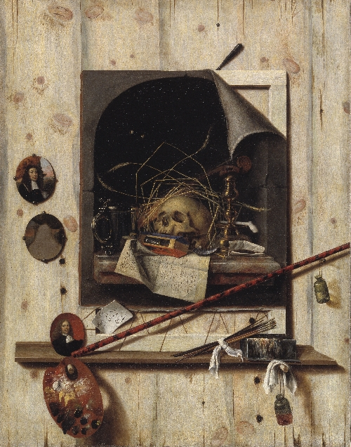 Trompe loeil with Studio Wall and Vanitas Still Life | Cornelius Norbertus Gijsbrechts | oil painting
