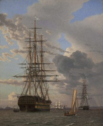 The Russian Ship of the Line Asow and a Frigate at Anchor in the Roads of Elsinore | Eckersberg CW | oil painting