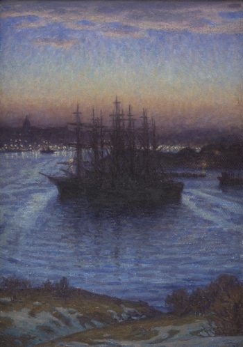 Ships at Anchor Winter | Eugen | oil painting