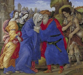 The Meeting of Joachim and Anne outside the Golden Gate of Jerusalem | Filippino Lippi | oil painting