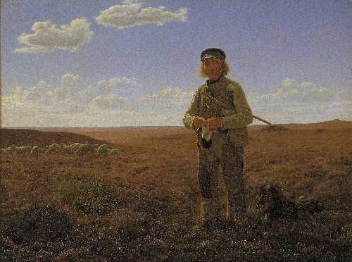 A Jutland Sheperd on the Moors | Frederik Vermehren | oil painting