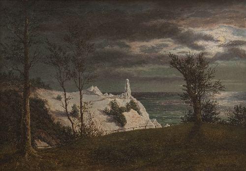 The Summer Spire on the Chalk Cliffs of the Island Mon Moonlight | F Sodring | oil painting