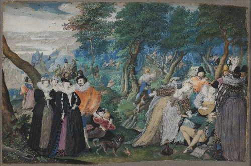 A Party in the Open Air Allegory on Conjugal Love | Isaac I Oliver | oil painting