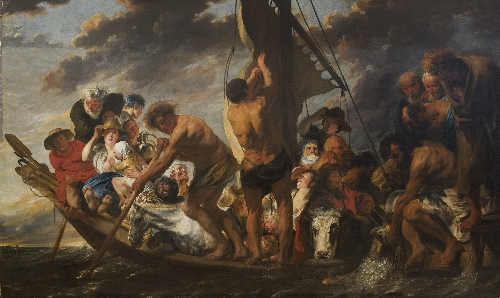 The Tribute Money Peter Finding the Silver Coin in the Mouth of the Fish Also called The Ferry Boat to Antwerp   Jacob Jordaens   oil painting